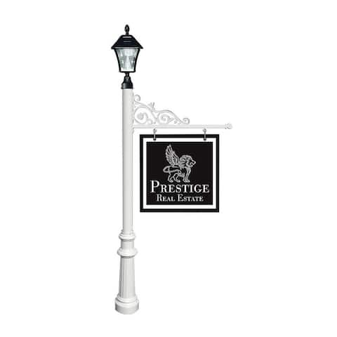 QualArc Prestige Real Estate Sign System with Bayview Solar Lamp Fluted Base in White Color