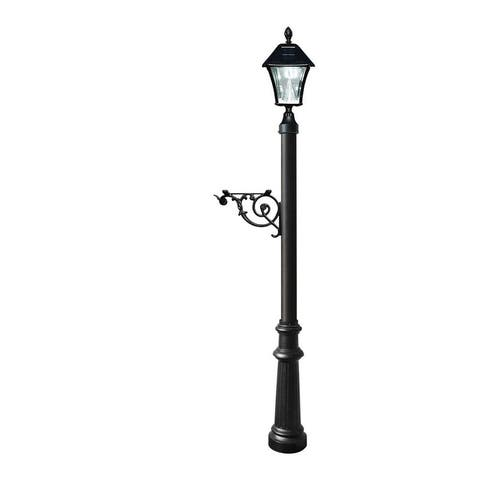 QualArc Lewiston Post System Only with Bayview Solar Lamp, Support Bracket and Fluted Base - Black