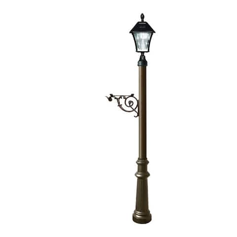 QualArc Lewiston Post System Only with Bayview Solar Lamp, Support Bracket and Fluted Base - Bronze