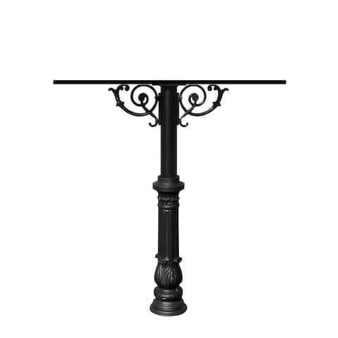 QualArc The Hanford Quad Mailbox Post System with Scroll Supports Decorative Ornate Base 7 No Mailbox