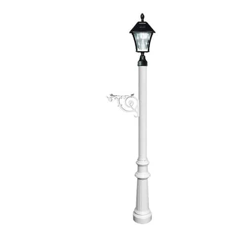 QualArc Lewiston Post System Only with Bayview Solar Lamp, Support Bracket and Fluted Base - White