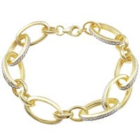 Luxiro Gold Finish Sterling Silver White Cubic Zirconia Open Oval Links Bracelet