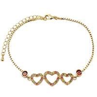 Luxiro Gold Finish Multi-color Cubic Zirconia Open Hearts Bracelet