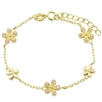 Luxiro Sterling Silver Gold Finish Pink Cubic Zirconia Flower Bracelet, 6''