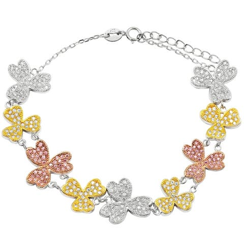Luxiro Tri-color Finish Sterling Silver Cubic Zirconia Flowers Bracelet, 6.5'' + 1''' Extender