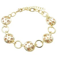 Luxiro Gold Finish Champagne Cubic Zirconia Circles Link Bracelet