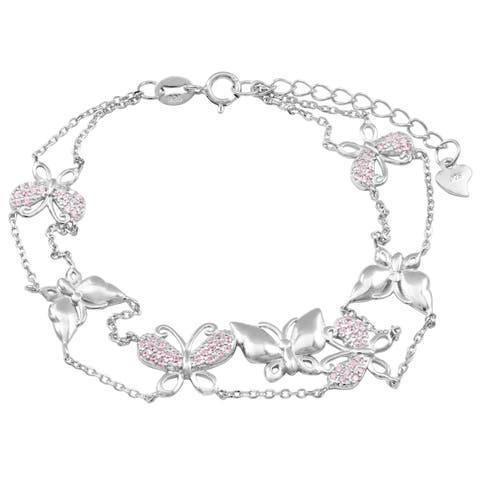 Luxiro Sterling Silver Pink Cubic Zirconia Butterfly Bracelet