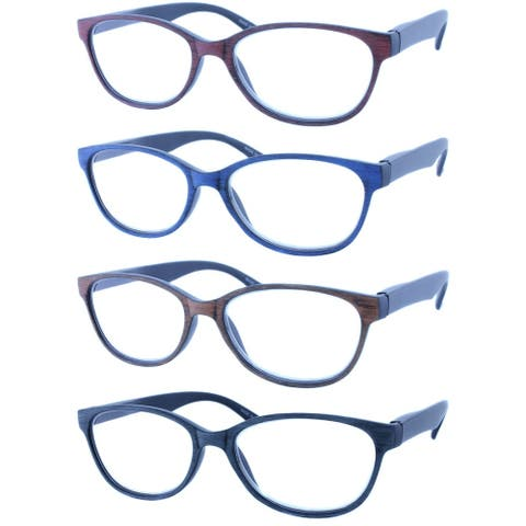 Modern Rectangle leopard print Reading Glasses 4 Pair Pack