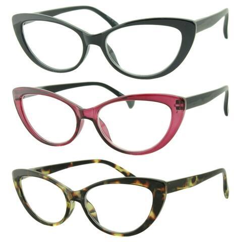 Womens Cat Eye Reading Glasses, 3 Pairs
