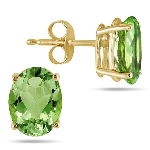 All-Natural Genuine 8x6 mm, Oval Peridot earrings set in 14k Yellow gold