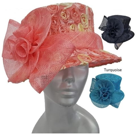 Lace Covered Special Occasion Kentucky Derby Straw Sinamay Hat
