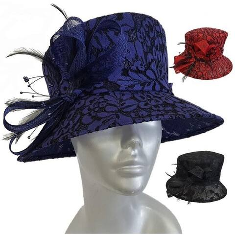 Women's Lace Covered Kentucky Derby Style Straw Sinamay Hat