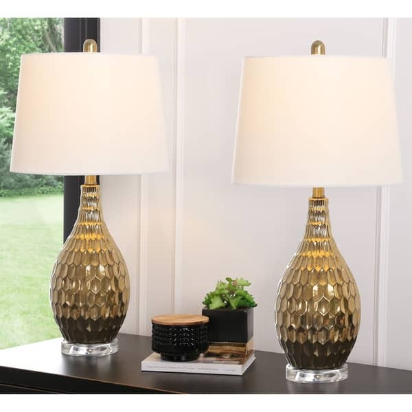Abbyson Eliza 27 Inch Gold Textured Table Lamp Set Of 2 Overstock 27635126