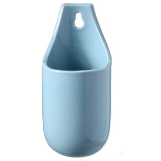 Ceramic Rounded with Curved Bottom Wall Pocket 7 x 3 D (Stoneware - Blue)