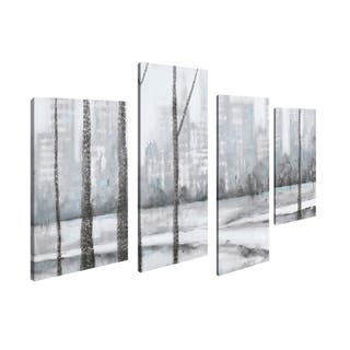 Art Maison Canada, Landscape City Wood Giclee Gallery Wrapped Canvas Wall Art
