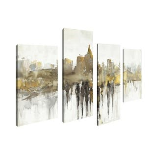 Art Maison Canada, Cityscape Abstract City Views Giclee Gallery Wrapped Canvas Wall Art
