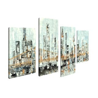 Art Maison Canada, Abstract Cityscape City Bridge Giclee Gallery Wrapped Canvas Wall Art