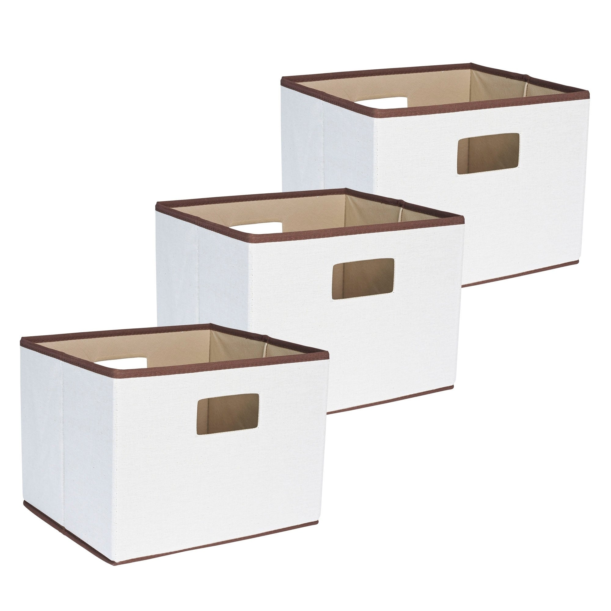 Household Essentials All Natural with Brown Trim Canvas Storage Cube, Set of 3