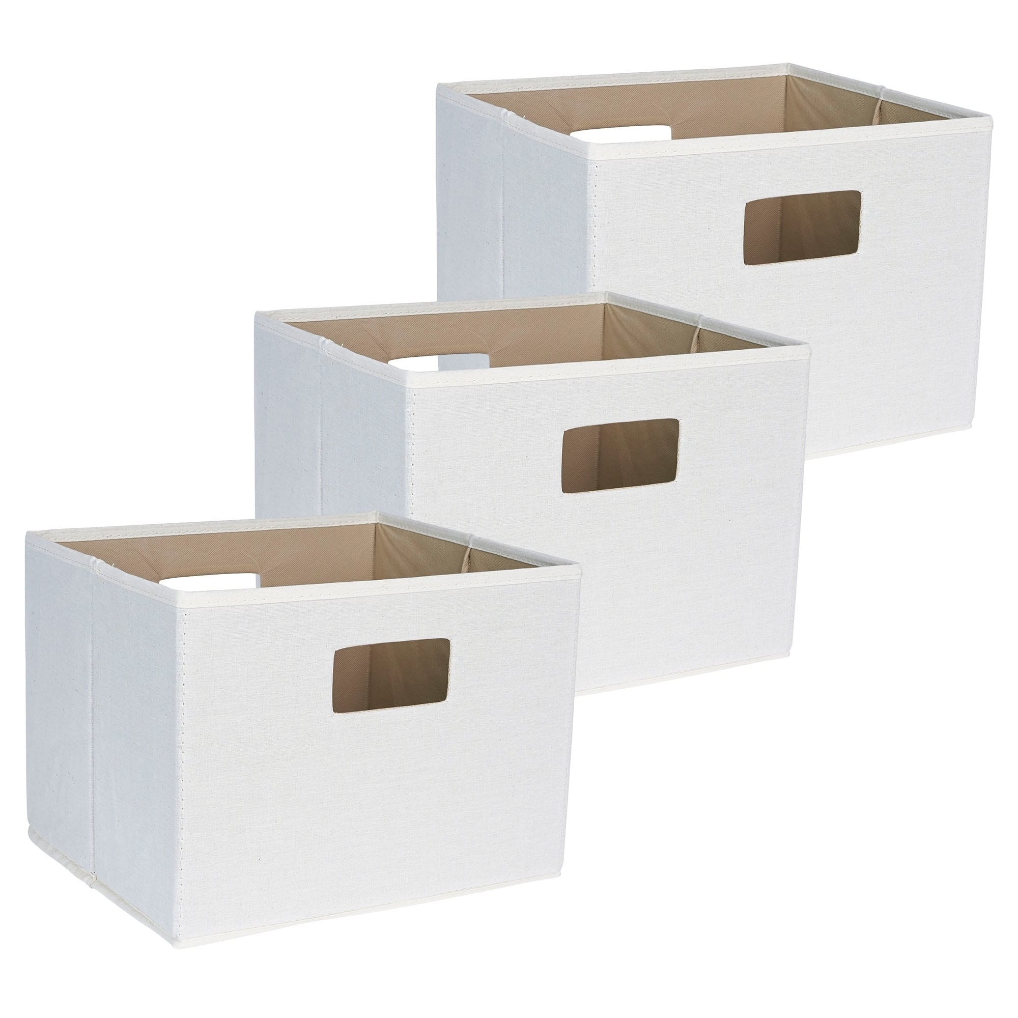 Household Essentials All Natural Canvas Storage Cube, Set of 3