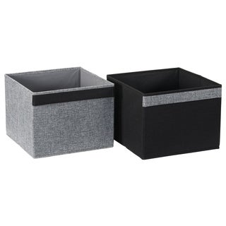 Household Essentials Two-Tone Black and Graphite Storage Cubes, Set of 2