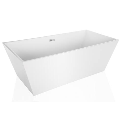 "Empava 67"" Luxury Freestanding Bathtub Acrylic Soaking SPA Tub, Modern"
