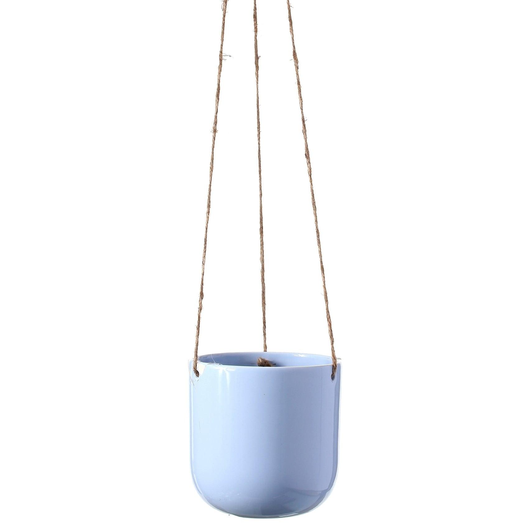 Ceramic Shiny Hanging Planter 5 x 5 x 35 (Blue)