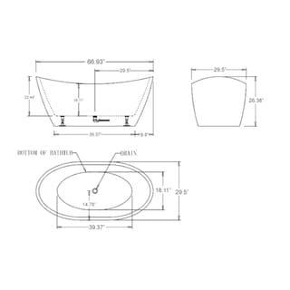 Empava 67 Luxury Freestanding Bathtub Acrylic Soaking SPA Tub, Modern