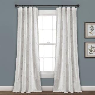 Porch & Den Aloclek Chenille Trellis Window Curtain Panel Pair (95L x 40W - White)