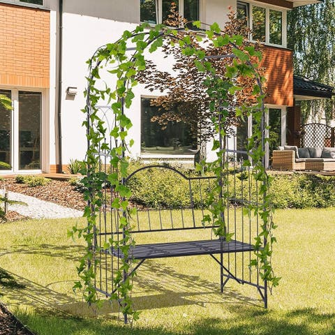 """Outsunny 43"""" Metal Garden Arbor Arch with Bench Seat"""