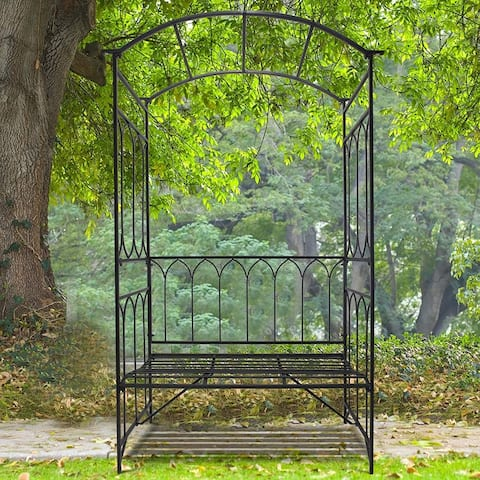 "Outsunny 45"" Metal Garden Arbor Arch with Bench Seat"