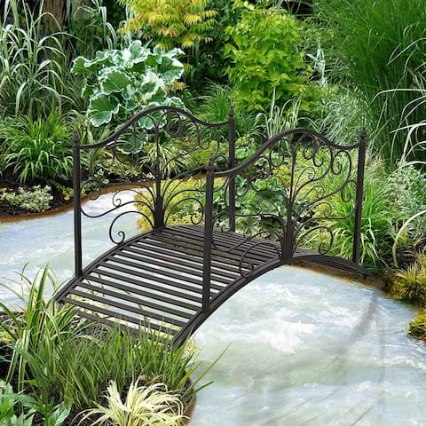 Pebbleton 4-foot Arched Metal Decorative Garden Bridge by Havenside Home