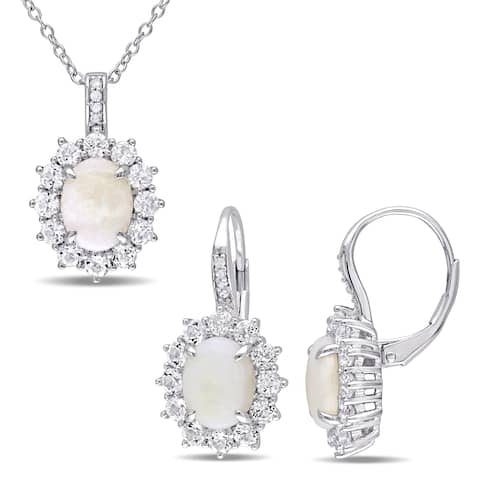 Miadora Sterling Silver Opal White Topaz and Diamond Halo Necklace and Earrings Set