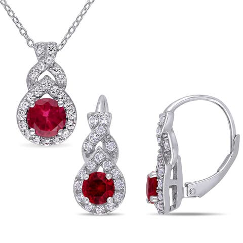 Miadora Sterling Silver Created Ruby and Created White Sapphire Teardrop Necklace and Earrings Set