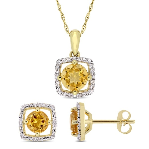 Miadora 10k Yellow Gold Citrine and 1/6ct TDW Diamond Floating Halo Jewelry Set. Opens flyout.
