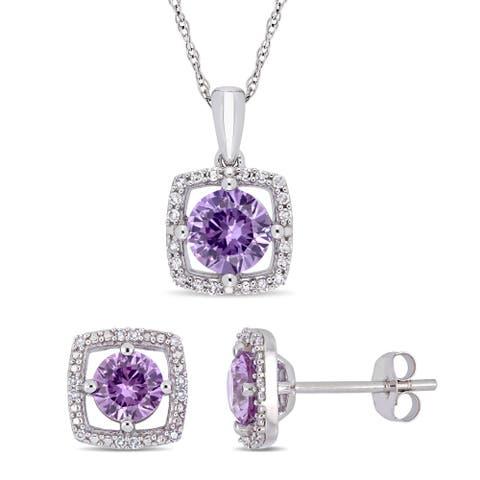Miadora 10k White Gold Created Alexandrite and 1/6ct TDW Diamond Floating Halo Jewelry Set