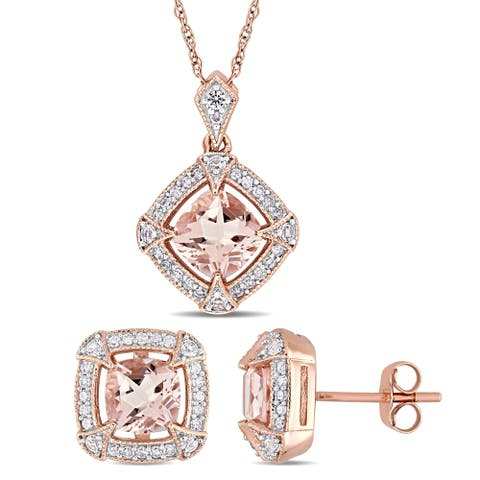 Miadora 10k Rose Gold Morganite Created White Sapphire and 1/3ct TDW Diamond Halo Jewelry Set