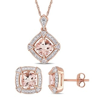 Link to Miadora 10k Rose Gold Morganite Created White Sapphire and 1/3ct TDW Diamond Halo Jewelry Set Similar Items in Earrings