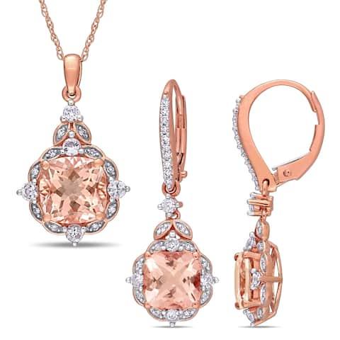 Miadora 14k Rose Gold Morganite and 1/5ct TDW Diamond Vintage Halo Drop Jewelry Set