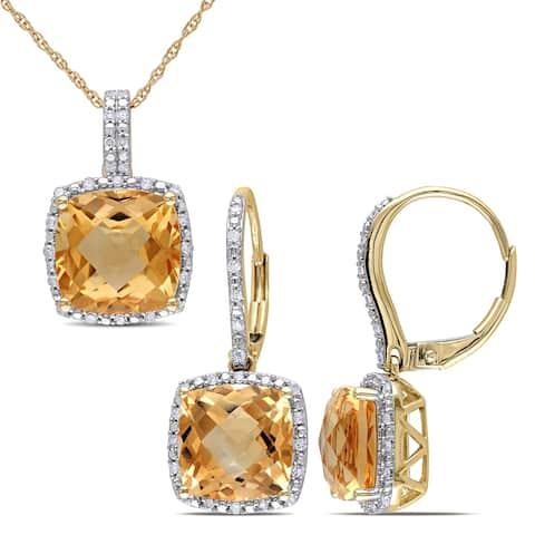 Miadora 10k Yellow Gold Cushion-Cut Citrine and 1/3ct TDW Diamond Halo Jewelry Set