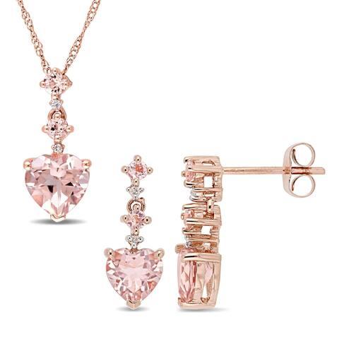 Miadora 14k Rose Gold Heart-Cut Morganite and Diamond Drop Jewelry Set