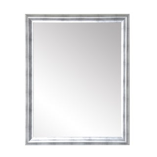 Industrial Brushed Silver Accent Mirror - Silver/Black