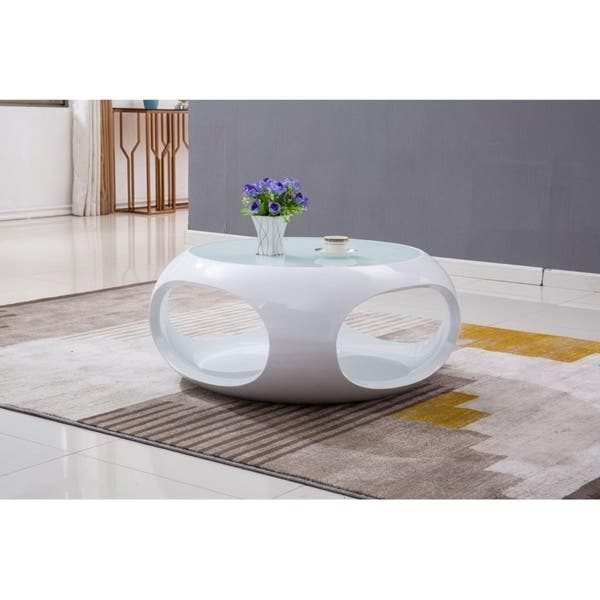 Cosmo Round Coffee Table With Glass Top Overstock 27635448