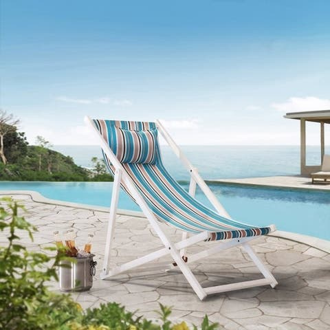 Sunjoy Belton Folding Reclining Beach Chair with Cushioned Headrest, Wood Sling Chair for Outdoor Seating