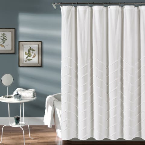 Lush Decor Chenille Chevron Shower Curtain