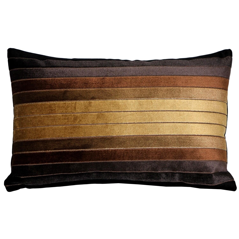 Pillow Decor - Bullion Stripes Velvet Throw Pillow 12x19