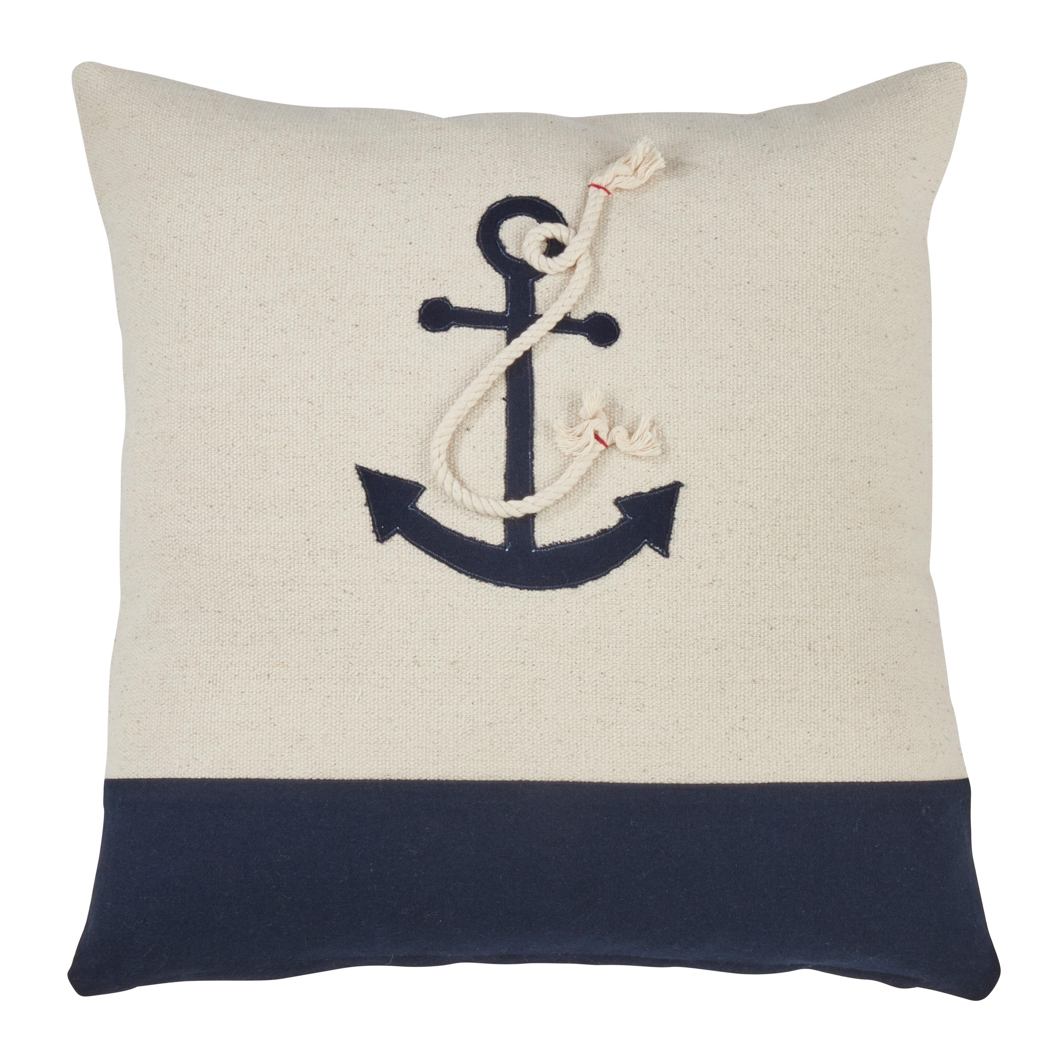 Saro Lifestyle Anchor Design Down-filled Cotton Throw Pillow