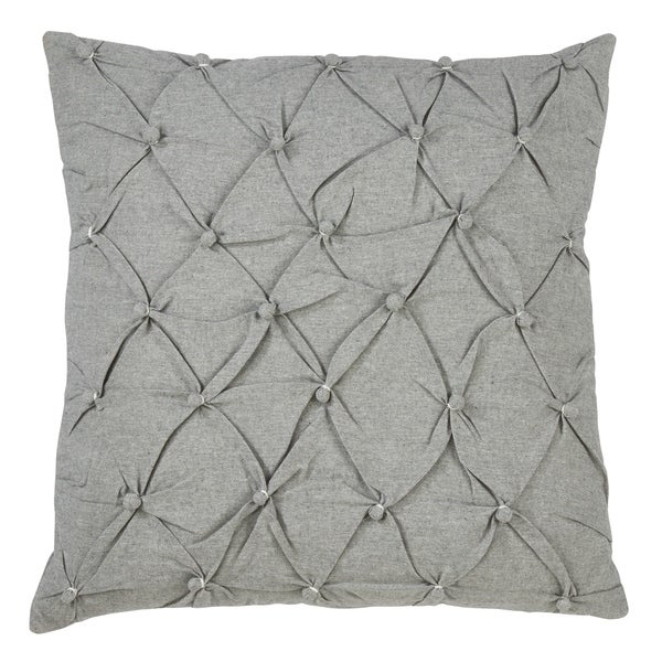 Saro Lifestyle Grey Cotton Pintucked Button-tufted Throw Pillow