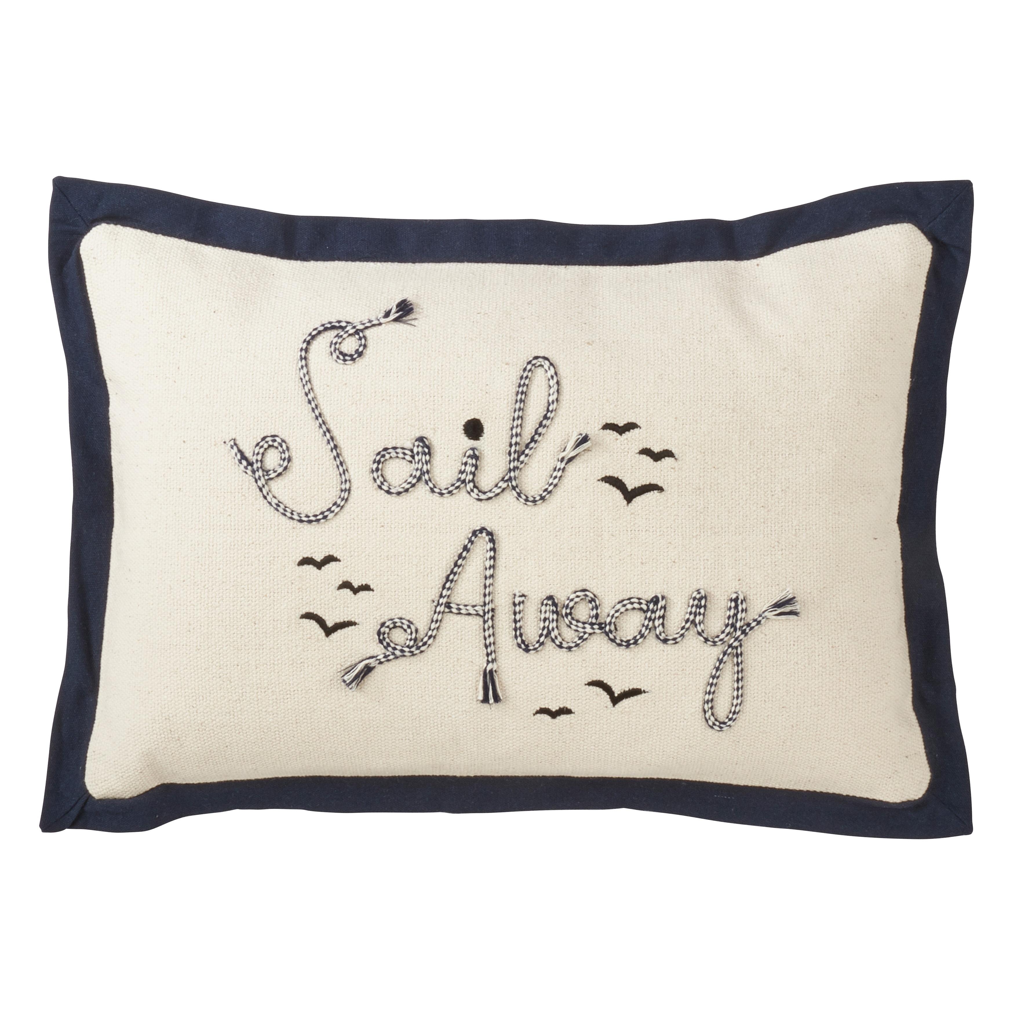 Saro Lifestyle 'Sail Away' Embroidered Down-filled Throw Pillow