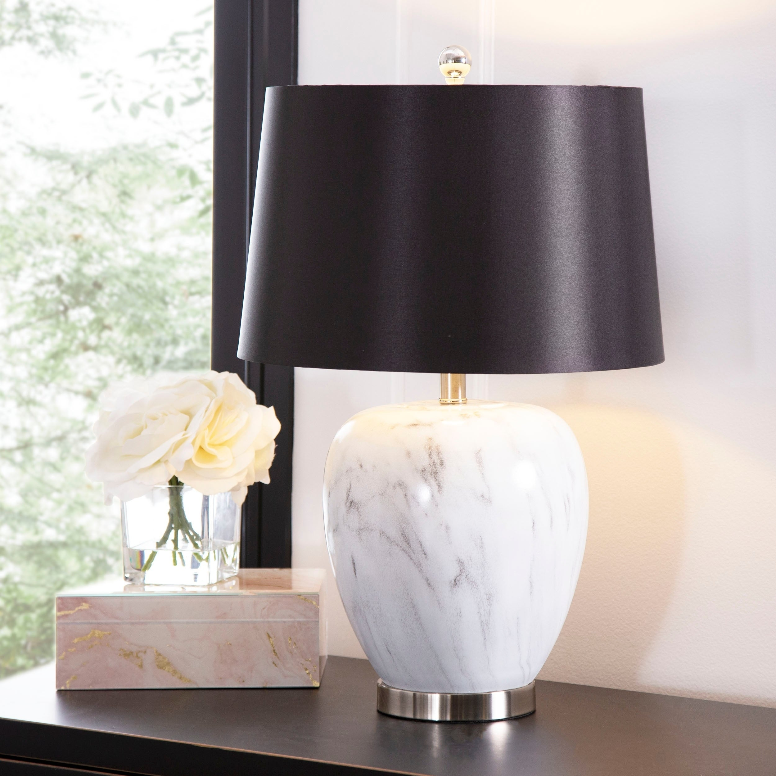 Abbyson Daniella 26 Inch Marble Table Lamp Overstock 27635614