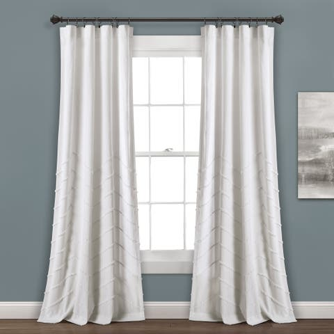Lush Decor Chenille Chevron Window Curtain Panel Pair